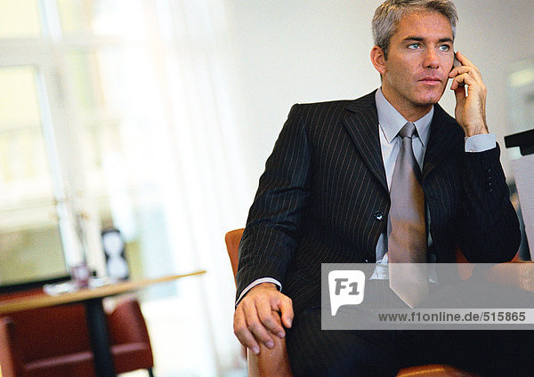 Geschäftsmann sitzend  am Handy sprechend