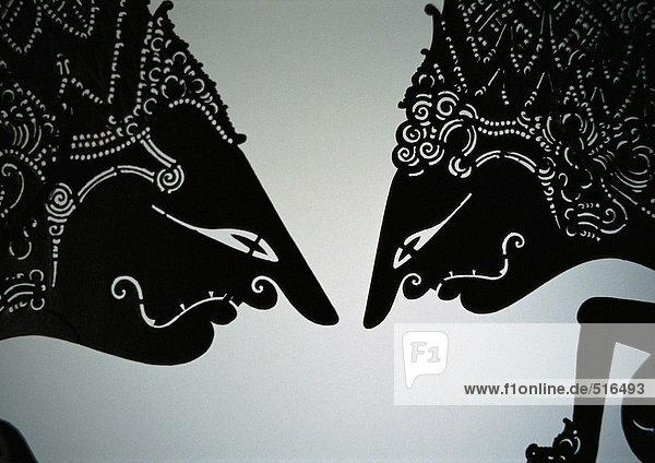 Traditionelle indonesische Schattenspielfiguren  Nahaufnahme