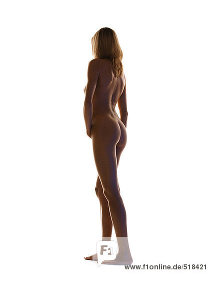 Frauenakt stehend  volle Länge  Rückansicht