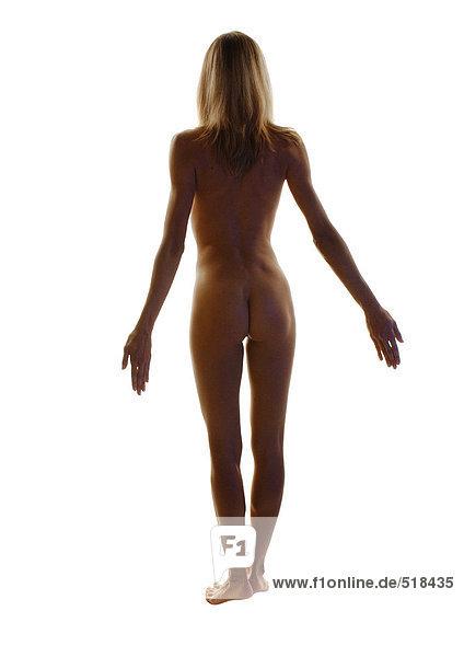 Nackte Frau stehend mit Armlehne  volle Länge  Rückansicht