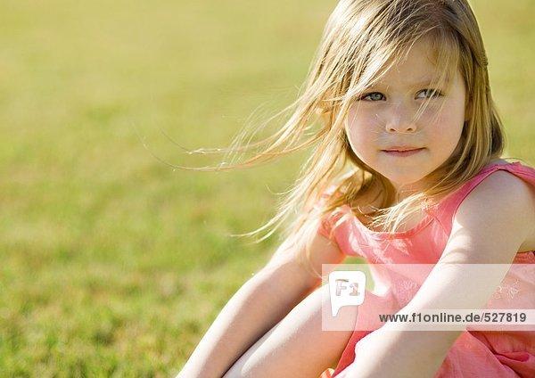 Kleines Mädchen sitzt auf Gras  Haare blasen im Wind
