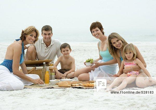 Group picnic on beach