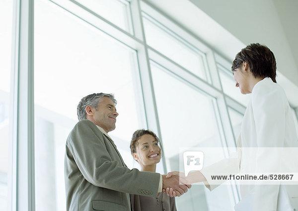 Geschäftsleute beim Händeschütteln Geschäftsleute beim Händeschütteln