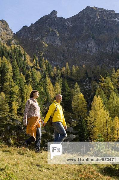 Paar in den Bergen  Wandern Hand in Hand