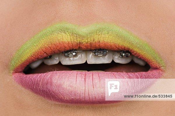 Bemalte Lippen  Nahaufnahme  Mund