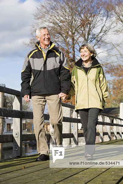 Seniorenpaar  das Hand in Hand am Steg geht