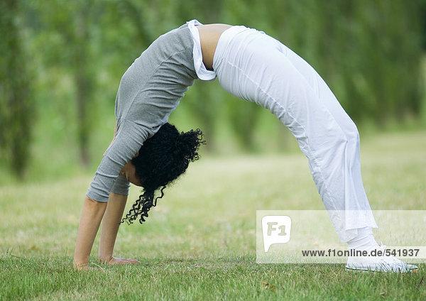 Young Frau macht Brücke auf Gras