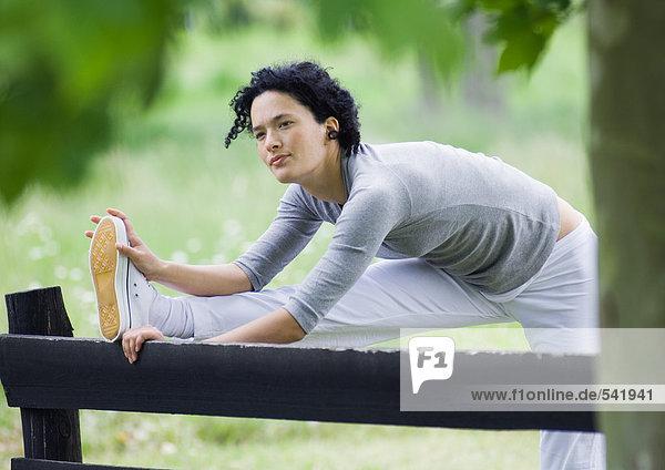 Holzzaun junge Frau junge Frauen strecken