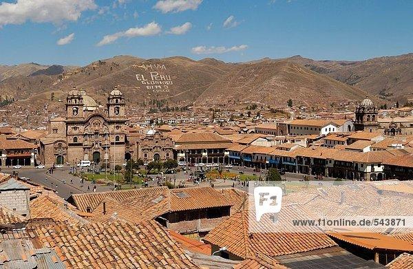 High angle view of church in town  Iglesia La Compania De Jesus  Plaza-De-Armas  Cuzco  Cusco Region  Peru