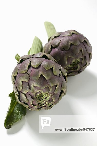 Two artichokes from the front