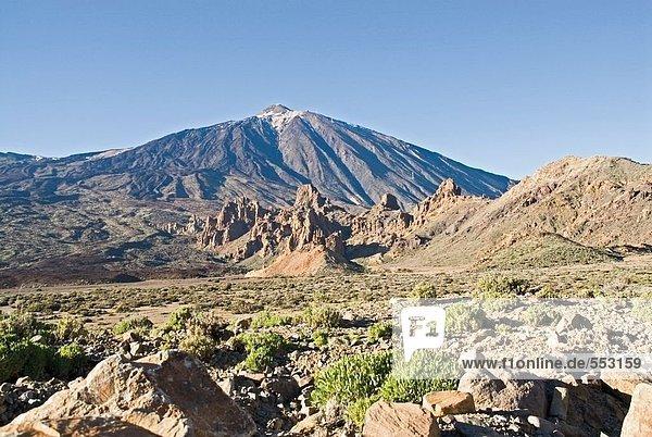 Rock formations on volcanic landscape  Caldera De Las Canada  Pico De Teide  El Teide National Park  Tenerife  Canary Islands  Spain