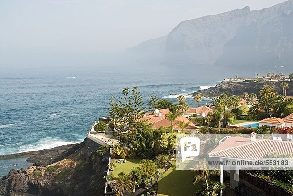 hoch oben Küste Ansicht Flachwinkelansicht Bungalow Kanaren Kanarische Inseln Winkel Spanien Teneriffa