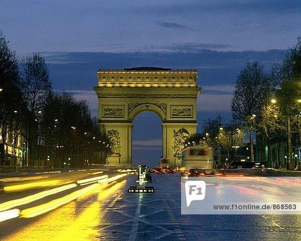 Arc de Triomphe and Champs Elysees. Paris. France