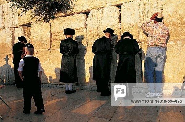 Orthodox jews at the Wailing Wall. Jerusalem. Israel