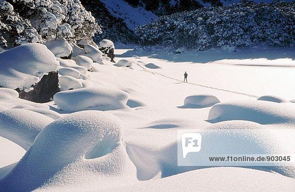Skifahren über Pulverschnee. Gefrorenen See Mackenzie. Fiordland-Nationalpark. Südinsel. Neuseeland