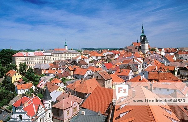 Old town. View from Kothov Tower (15th century). Tabor. South Bohemia. Czech Republic