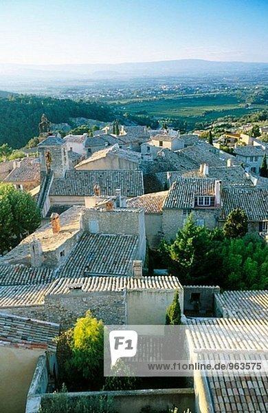 Rooftops. Le Barroux. Dentelles de Montmirail. Provence. France