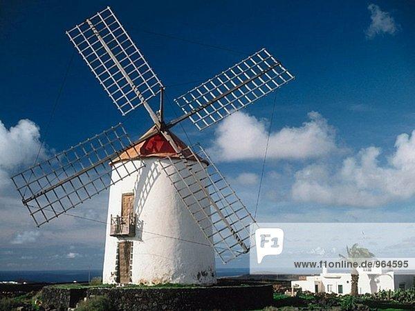 Windmühle. Tiagua  Lanzarote. Kanarischen Inseln. Spanien