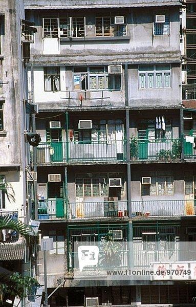 Ansicht von Wohnblocks in Sheung Wan. Hong Kong  China