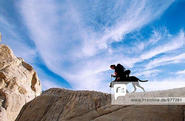 Wandern mit Rucksack. Grand Staircase Naturdenkmal. Utah. USA.