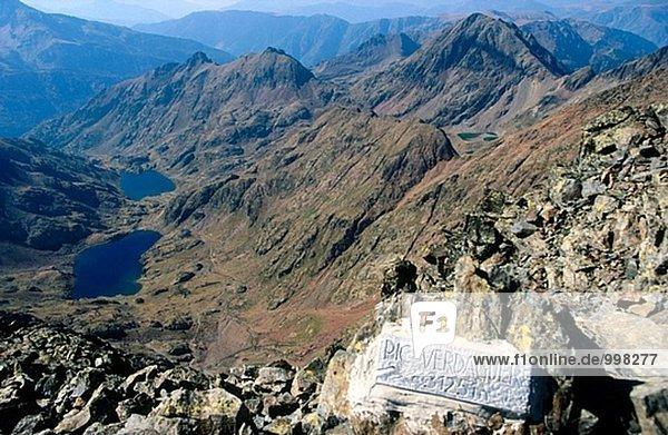 Verdaguer Peak und Estats und Sotllo Seen. Pallars Sobirà. Provinz Lleida. Catalunya. Pyrenäen. Spanien