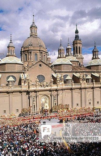 El Pilar Festival. Basilika del Pilar. Zaragoza. Aragon. Spanien.