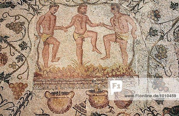 Zimmer Retro Weintraube Herbst gehen Extremadura Mosaik Spanien