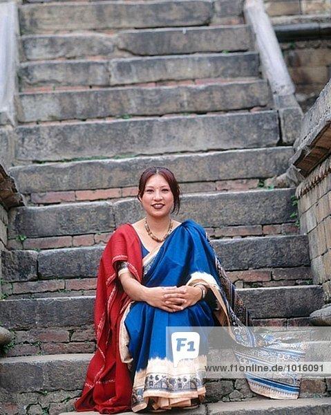 Nepalesische Frau. Bhaktapur. Kathmandu-Tal. Nepal.