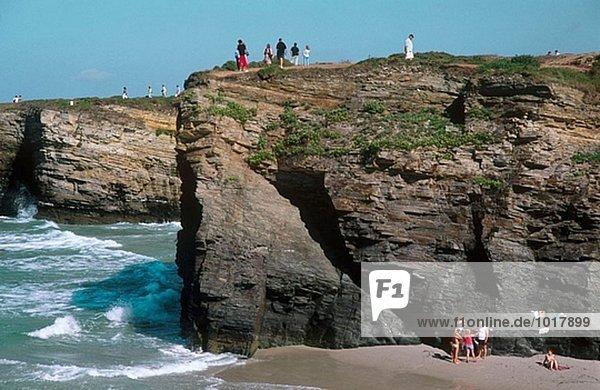 Las Catedrales beach (Slate cliffs) Ribadeo. Lugo province. Galicia. Spain