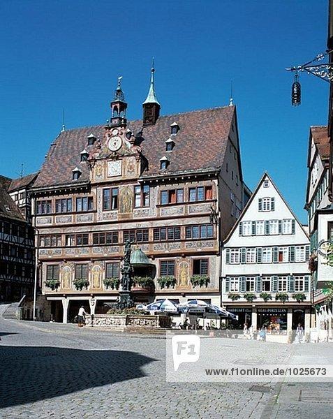 Marktplatz und das Rathaus. Tübingen. Baden-Württemberg. Deutschland