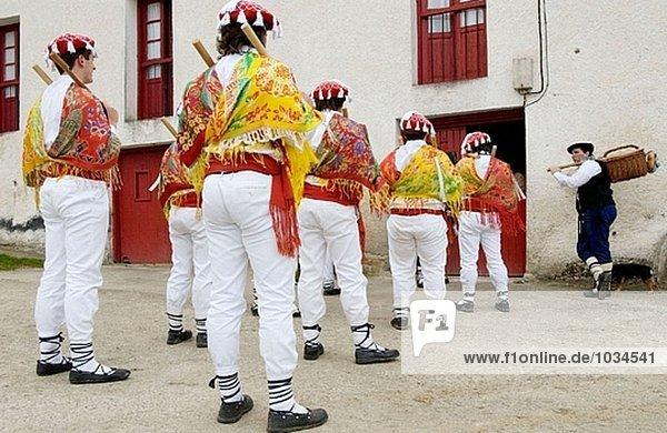 ´Txantxos´ (dancers) at ´Makil-Dantza´(folklorical dance performed at each farmhouse during Carnival). Abaltzisketa. Guipúzcoa  Euskadi. Spain