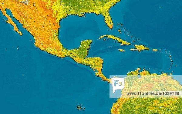 Satellitenbild von Mittelamerika.