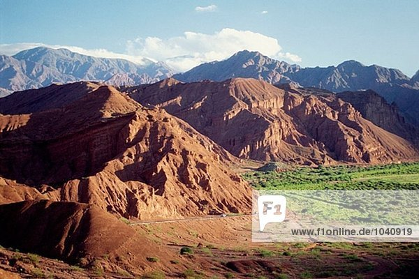 Sunset over the mountains surrounding Las Conchas Valley. Valles Calchaquíes. Salta province. Argentina