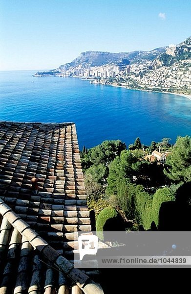 Principality of Monaco from Roquebrune. French Riviera. Provence. France