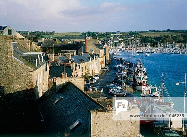 Fishing boats moored in the harbour. Pleneuf. Cotes d´Armor. Brittany. France