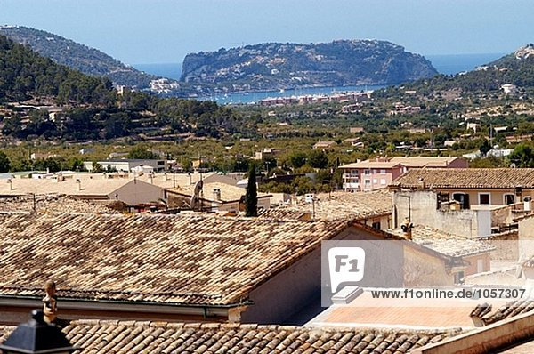 Andraitx with port in background. Majorca  Balearic Islands. Spain