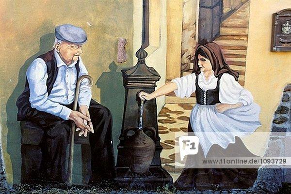 Tinura Stadt - Wandmalerei - Bosa-Bereich. Sardinien  Italien