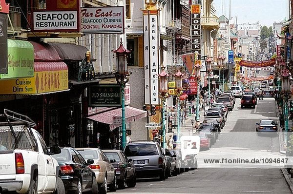 Street of Chinatown. San Francisco  California. USA.