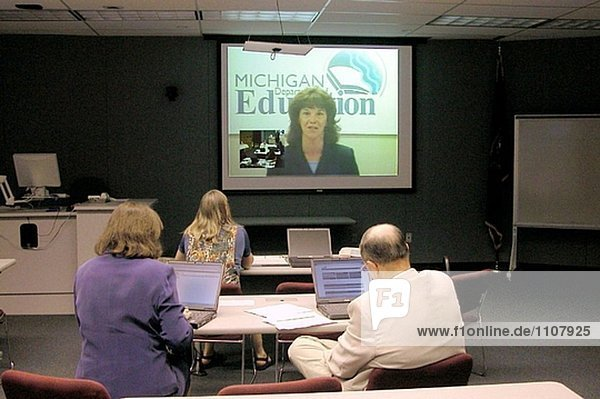 Video conference workshop. Michigan department of Education. Lansing with Saint Clair County ISD (Independent School District). Michigan. USA.