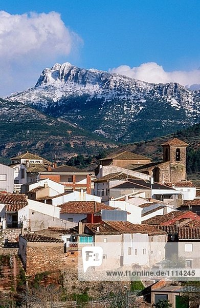 Bienservida village and Pico de la Sarga mountain. Alcaraz mountain range. Albacete province. Spain