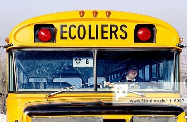 School bus. City of Quebec in winter. Quebec. Canada