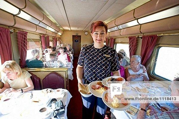 The Ghan (Zug von Darwin nach Adelaide Australien zusammen eine 3000 km Eisenbahn). Abfahrtsbahnhof. Darwin. Nordterritorium. Australien.