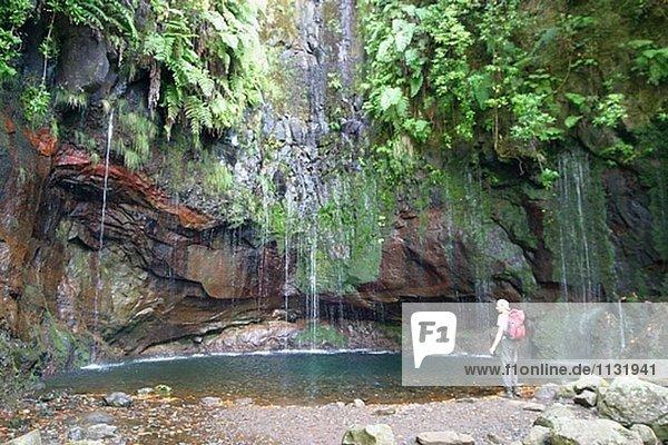 Levada Das 25 Fontes (25 Brunnen Wasserfall). Madeira Naturpark. Rabaçal. Insel Madeira. Portugal.