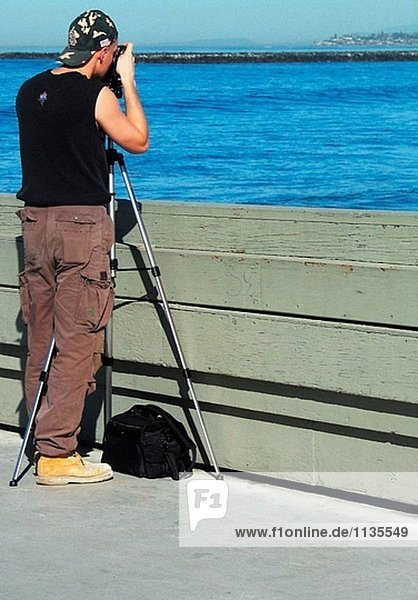 Fotograf auf der Ocean Beach-Perle. Ocean Beach  Kalifornien  USA