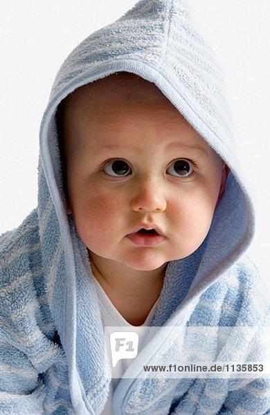 Baby portrait in bathing wrap