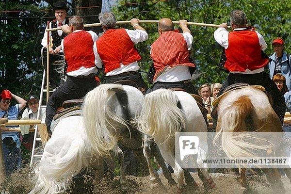 Oswald von Wolkenstein cavalcade  folklore in Siusi allo Sciliar. Trentino-Alto Adige  Italy