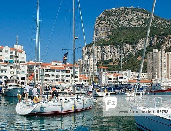 Gibraltar. Yachten in Marina Bay mit den Felsen im Hintergrund