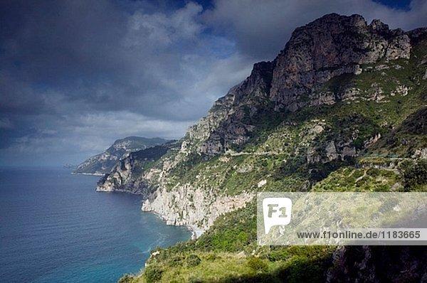 Morgen Küste Ansicht Amalfi Kampanien Italien Positano