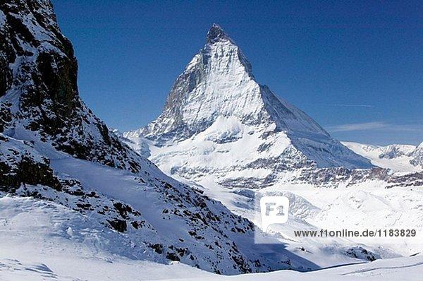 Rotenboden (auch 2815 Meter). Blick auf das Matterhorn. Winter. Zermatt. Wallis/Wallis. Schweiz.