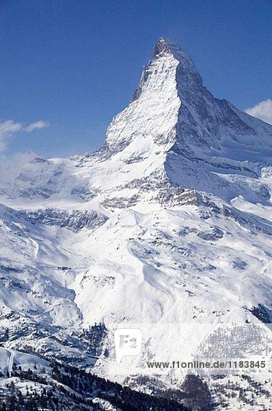 Blauherd (auch 2571 m) / Winter. Blick auf das Matterhorn. Zermatt. Wallis/Wallis. Schweiz.